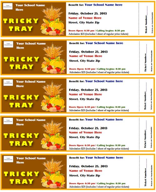 Tricky Tray Tickets Template Fall Theme – Benefit Ticket Template