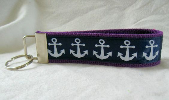 Key Fob Anchors Purple Navy Nautical Key Chain by CreativeJenV (Accessories, Keychain, Wristlet, keychain, key fob, wristlet keychain, handmade, fabric key fob, fabric keychain, keychain fob, nautical key fob, nautical key chain, anchors key chain, anchors and wheels, navy anchors fob, purple navy nautical)