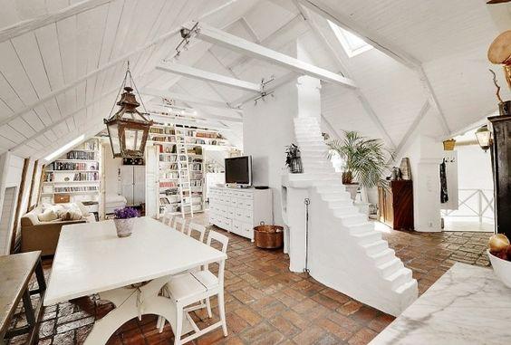 dachwohnung-moderne skandinavische inneneinrichtung | for the home, Innedesign