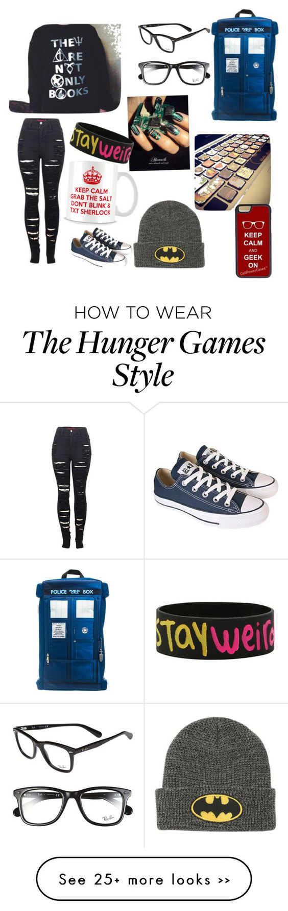 """Geeky"" by ntpetreko on Polyvore featuring Ray-Ban, 2LUV, Converse and CellPowerCases"