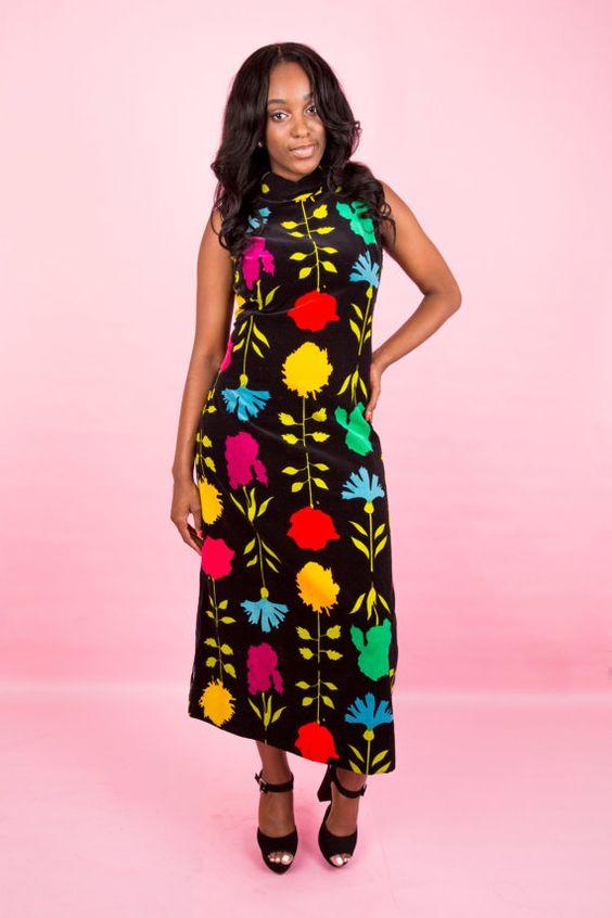 Vintage 70s Black Velvet Mock Neck Sleeveless by LoveDollShoppe