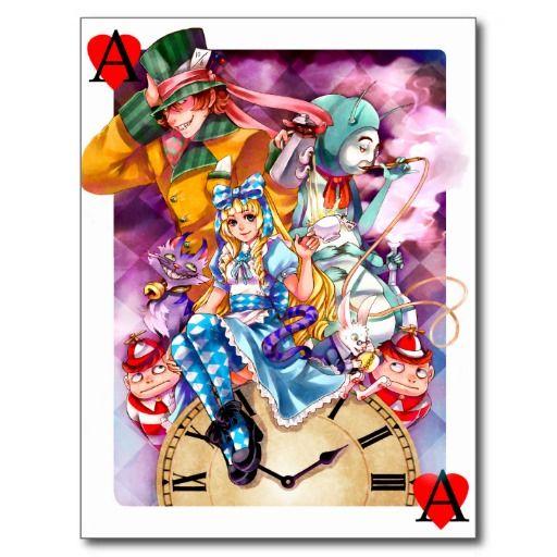 Colorful Alice in Wonderland art - postcard