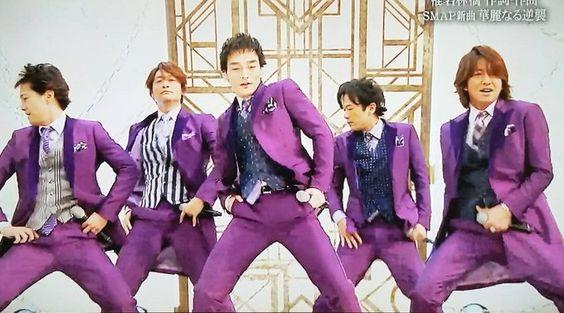 紫の衣装のSMAP