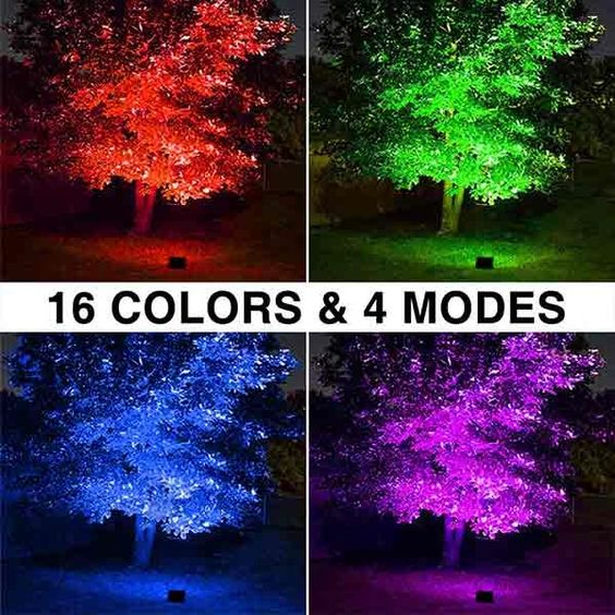 60w Rgb Led Flood Lights With Remote Control 2 Pack Ip66 Waterproof Dimmable Color Changing Floodlight