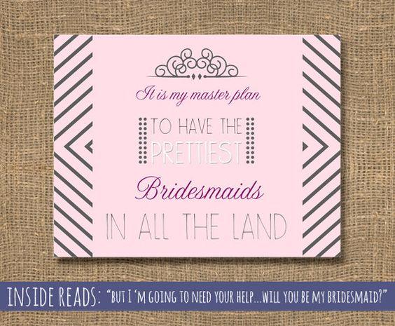 Bridesmaid Invitations Bridal Party Cards by RockCandieDesigns