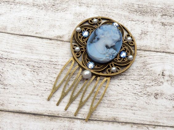 Cameo Hair Comb with Crystals Antique Style Blue Bronze White Handmade | eBay