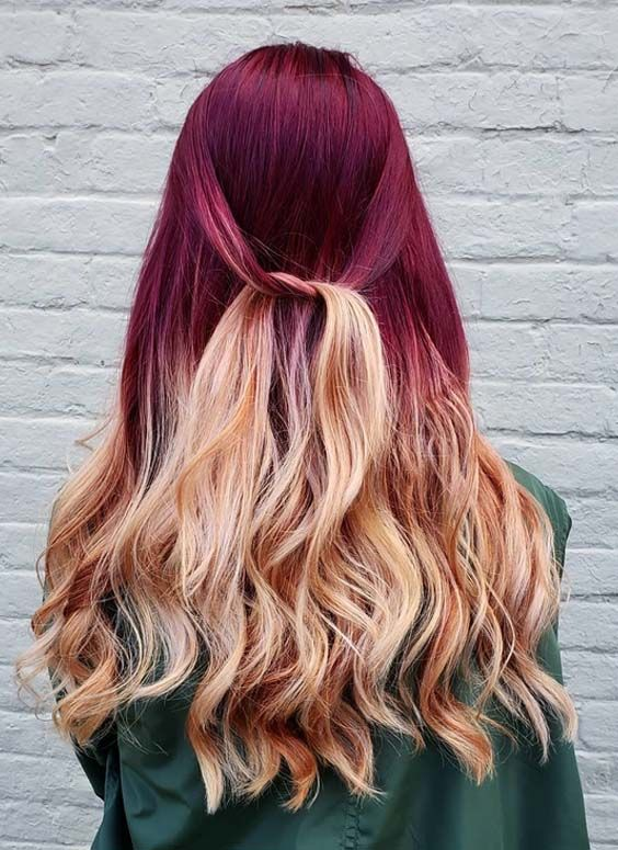 Bold Golden Brown Plum Red Hair Color Combinations In 2018 Fashionsfield Plum Red Hair Hair Color Plum Red Hair Color