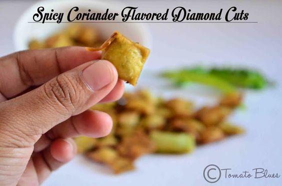 Tomato Blues: Coriander Diamond Cuts Recipe| Diwali Snack Recipes