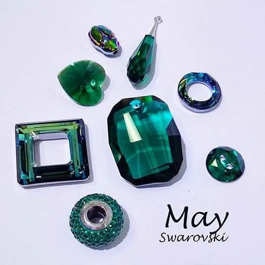 May Birthstone: Emerald  Create birthstone jewellery with beautiful Swarovski colours! There is such a lovely range of crystal cuts to choose from... http://ift.tt/1VR3vUH  Colours: Emerald Scarabaeus Green Bermuda Blue #diy #Swarovski #May #Emerald #crystal #birthstone #jewellery #jewelry #pendant #beads #sydney #iloveyoubeads #art #craft #design #heart #fashion #feminine by iloveyoubeads
