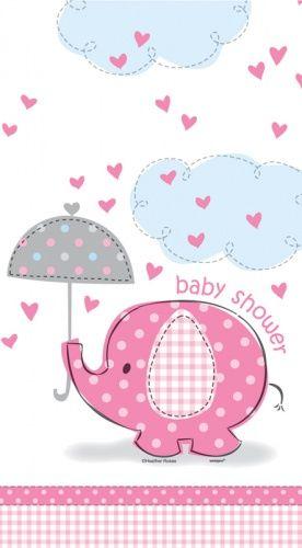 Pink Elephant Baby Shower Plastic Tablecloth Ilustraci 243 N