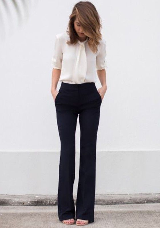 Black Plain Pockets Long Casual Pant