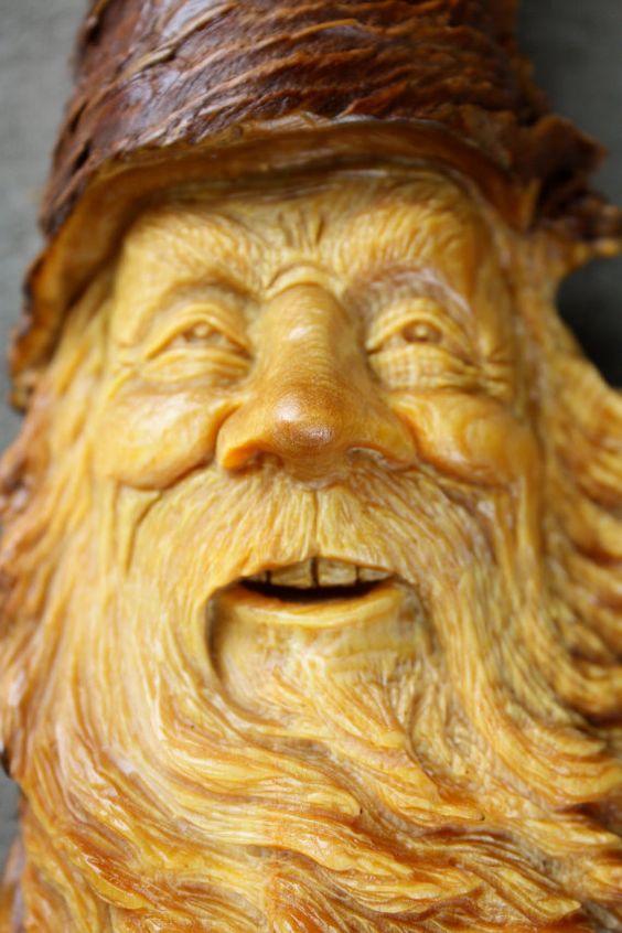 Wood spirit carving log cabin art gift for