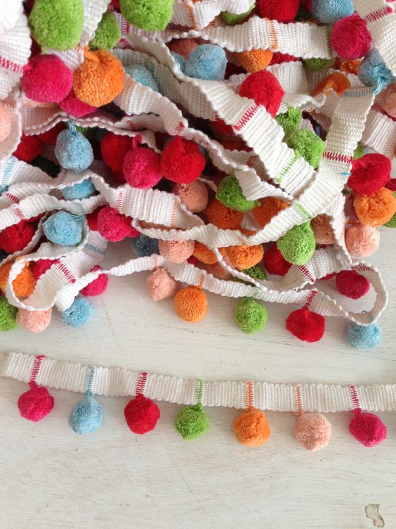 Pastel Pom Pom Trim High Quality. Available by the metre now.