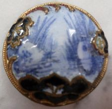 Unusual Antique Enamel On Gilt Gold Brass Button w/ loop back ca 1870's