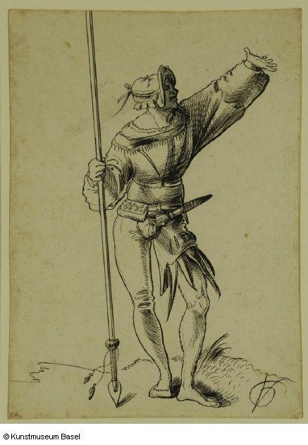 Artist: Graf, Urs, Title: Krieger mit Lanze und erhobenem Arm, Date: 1513
