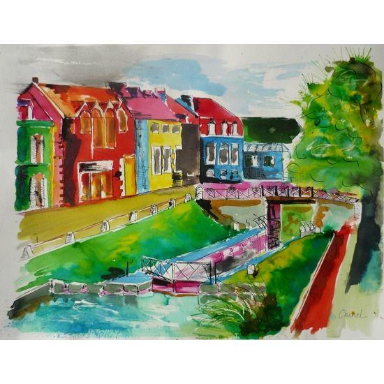 Encre de couleur de Chenel, Titre : Pontivy ou La Venise Bretonne, Format : 65 x 50 cm