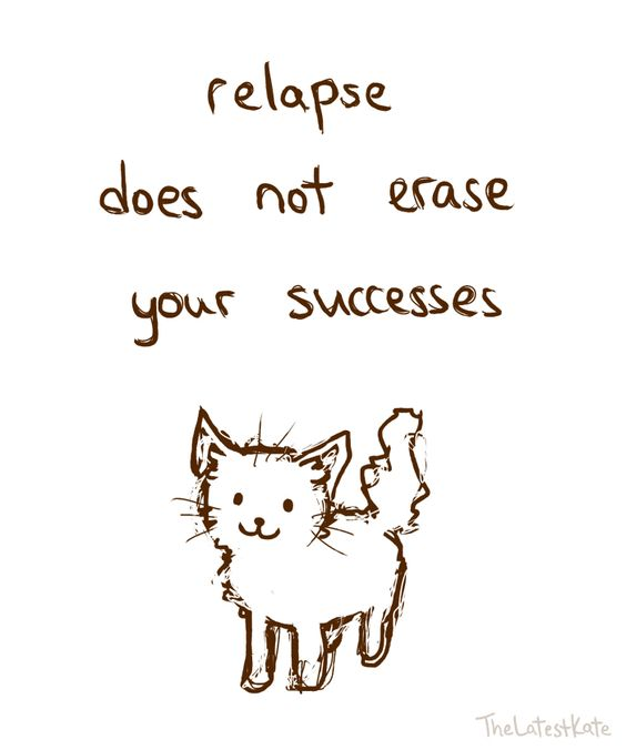 Relapse does not erase your Successes of Recovery. This is so hard for me to comprehend and understand because every time in relapse I feel like I've failed.: