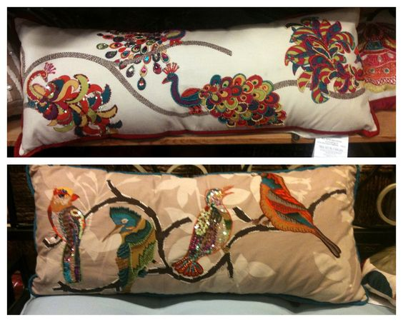 Pier 1 Peacocks And Beaded Birds Pillows Cushions