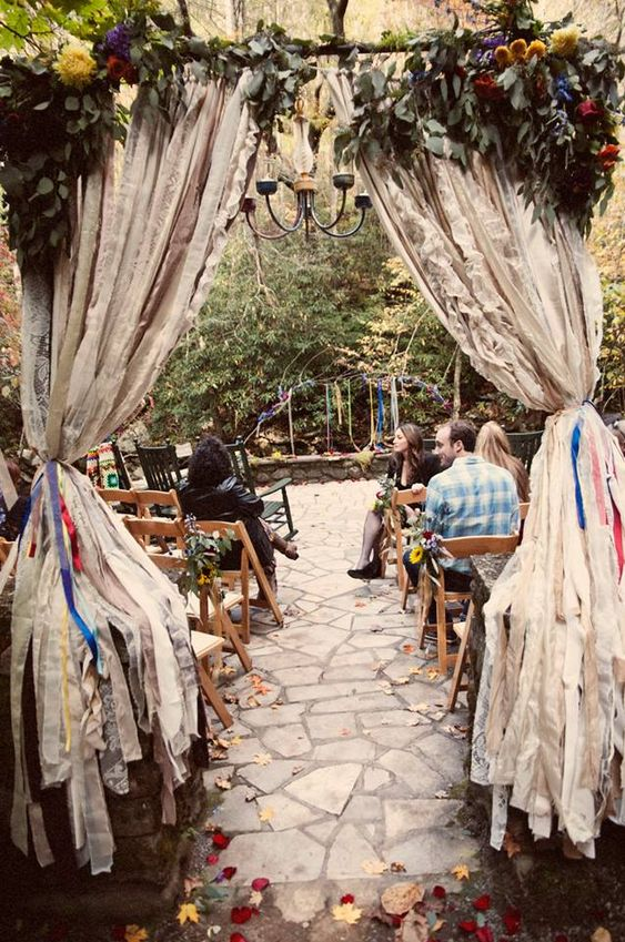 Bohemian rustic enchanting wedding aisle at my friends wedding in the woods