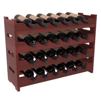 Red Barrel Studio Karnes Redwood Mini Scalloped 24 Bottle Tabletop Wine Rack Finish Table Top Wine Rack Wine Rack Contemporary Wine Racks