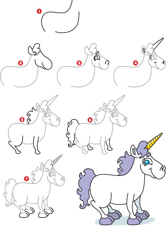 how to draw a unicorn step by step for kids