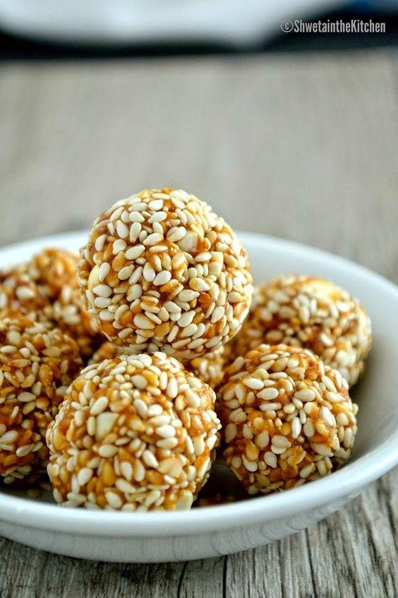 Shweta in the Kitchen: Til Gul - Til Gud Ladoo - Sesame Seeds and Jaggery Balls