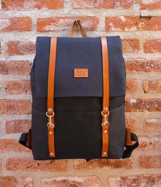 Canvas and Leather Backpack /Rucksack black and by BiciByBar
