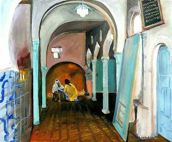 Algérie - Peintre Français Contemporain,  Gilles Chambon, Huile sur toile 2010, Titre: Constantine, Dévotion à la Zaouia de Sidi Rached