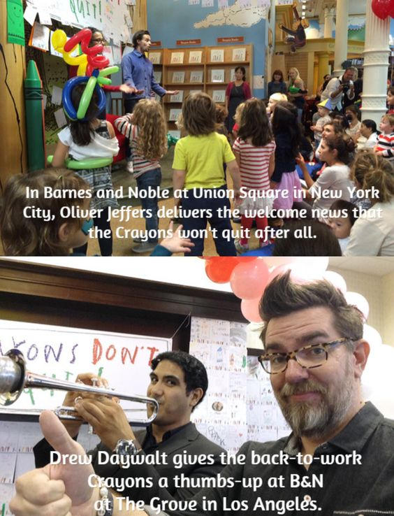 """Q6: Who would you like to see us interview in 2015 on StoryMakers? @OliverJeffers  and Drew Daywalt  """" """"I think the beauty of the book is that it speaks to all of us,"""" said Green. """"Who, as kids or parents, hasn't spent countless hours lying on the floor surrounded by crayons?""""   #KidLitTV PinParty"""