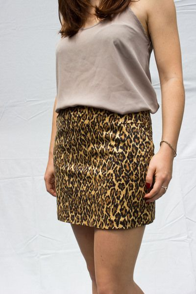 leo-print mini skirt