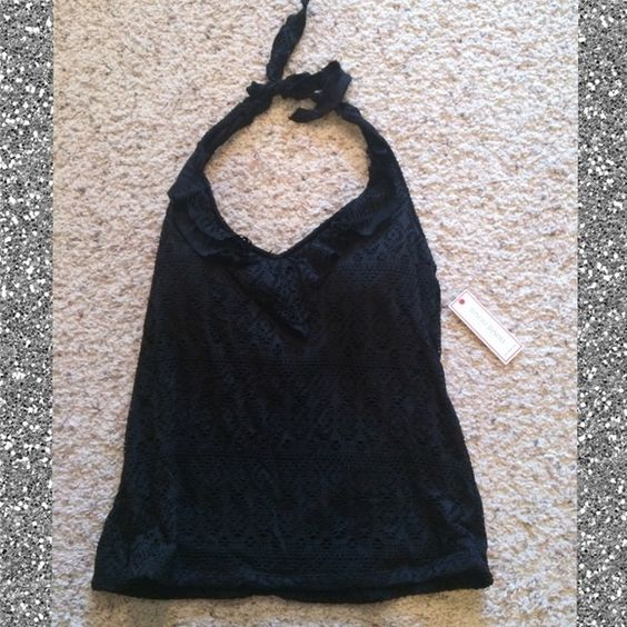 Halter Tankini Top Black with ruffle design at neck & crochet-type pattern all over. Never been worn, still has tags on it. For reference, I am a 38C and it fits my chest, but may not be accommodating for larger sizes. Bisou Bisou Swim