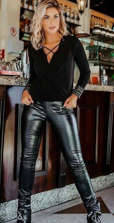 Cutie in black faux Leather Leggings Christophe | Zwarte