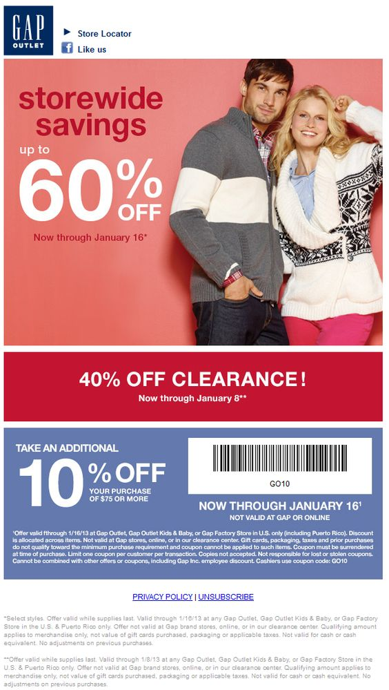 Gap Outlet - 15% off purchase of $75 or more through Feb 28th ...