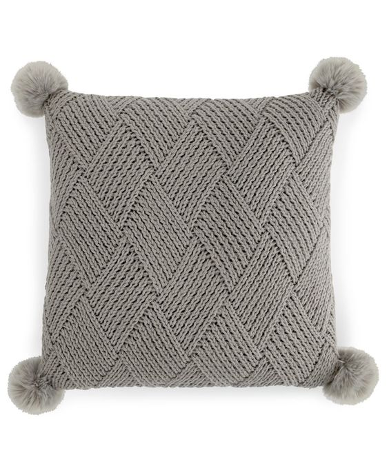 Martha Stewart Collection Basketweave Pom Pom Decorative Pillow, Only at Macy's