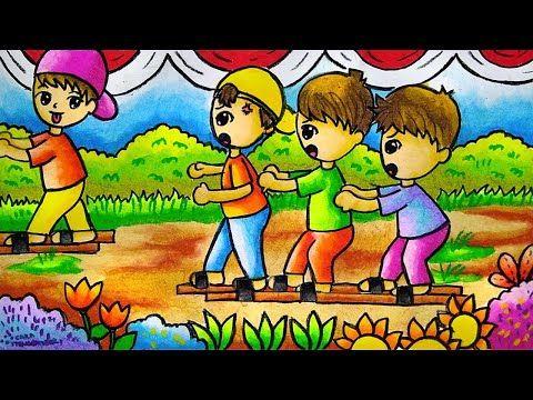 Cara Menggambar Dan Mewarnai Tema Lomba 17 Agustus Kemerdekaan Ri Yang Bagus Dan Mudah Ep 203 Youtube Cara Menggambar Kartun Gambar