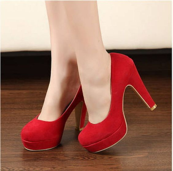 Women Pumps Autumn Thick High Heels Black Blue Red Ankle Strap Buckle ITC611.