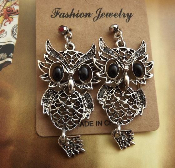 Antique Silver owl Earrings Free Shipping $6.99