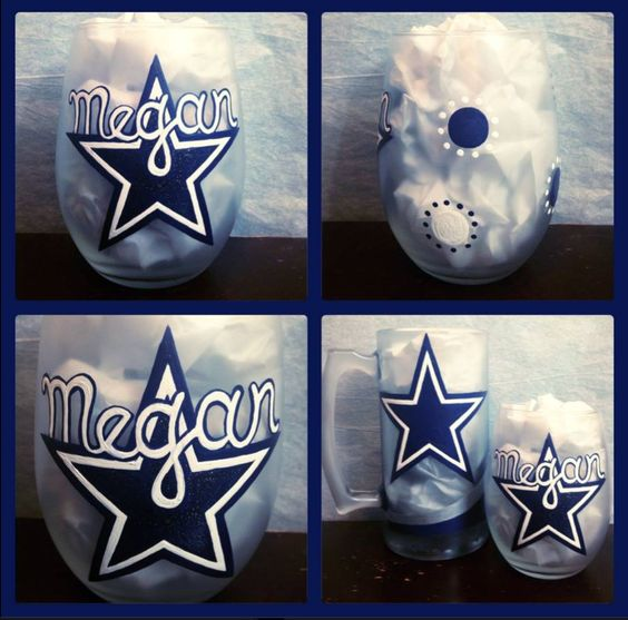 Dallas Cowboys Glassware ~ Dallas Cowboys Beer Mugs ~ Cowboys Wine Glasses ~ Dallas Cowboy Gift ~ NFL Team Barware ~ Man Gifts ~ Sports Gift by WattsGoodArtistry on Etsy Follow WattsGood Artistry on Facebook: https://www.facebook.com/wattsgoodartistrydesigns
