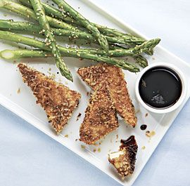 Crispy Tofu with Sesame Asparagus and Dipping Sauce