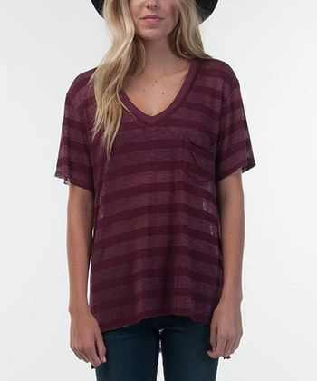 Burgundy Decco V-Neck Tee
