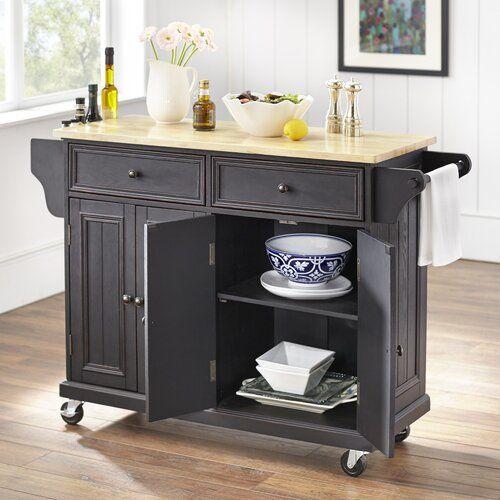 Mckinnis Kitchen Island Solid Wood Kitchen Cart Rolling Kitchen
