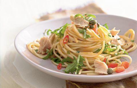 Klassisch: Spaghettini mit Tunfisch und Rucola