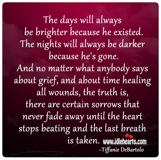 Tiffanie DeBartolo - The days will always be brighter because he existed. The nights will always be darker because he's gone. And no matter what anybody says about grief, and a