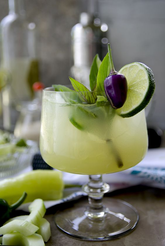 Spicy Thai Basil Cucumber Cocktail: