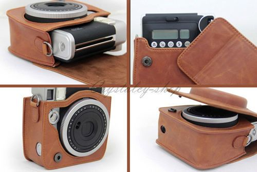 brown leather bags instax mini 90 instant polaroid case. Black Bedroom Furniture Sets. Home Design Ideas
