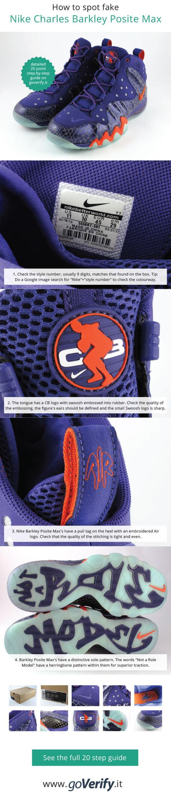 How to spot fake Nike Air Foamposite 1's, go to www.goverify.it for a full  15 point step-by-step guide. | How to spot fake Nike's | Pinterest
