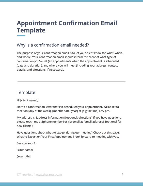 Email Templates For Communicating With Your Therapy Clients Theranest Confirmation Email Template Therapy Clients Email Templates