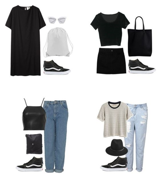 """Outfits ft black vans sk8 hi's"" by heynathalie ❤ liked on Polyvore featuring Vans, La Garçonne Moderne, River Island, Uniqlo, Pieces, Topshop, Witchery, Madewell and rag & bone"