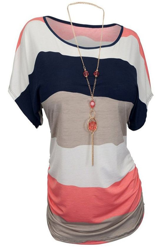 Casual Round Neck Striped Plus Size T-Shirt For Women