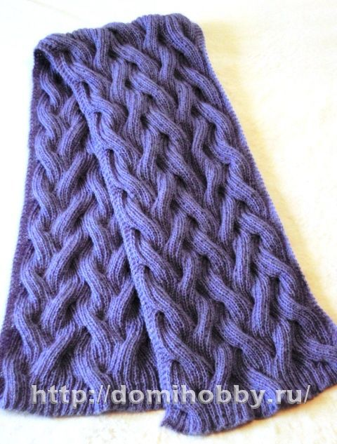 Knitting Patterns Reversible Scarves : Russian site - reversible cable scarf pattern with chart - Google does OK on ...